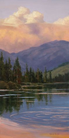 Sierra Lake at Sunset - Sheryl Knight Fine Art Scenery Paintings, Mountain Paintings, Sunset Paintings, Scenery Wallpaper, Painting Wallpaper, Aesthetic Painting, Aesthetic Art, Landscape Art, Landscape Paintings