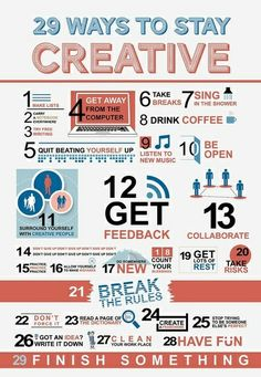 20 Ways to Stay #Creative. #Infographic