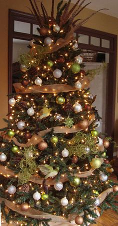 Christmas Tree with burlap and feathers