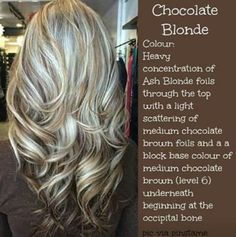 chocolate blonde hair color Love this color and style Blonde Foils, Light Blonde Highlights, Blonde Color, Silver Highlights, Ash Blonde, Silver Blonde, Platinum Blonde, Best Long Haircuts, Long Layered Haircuts