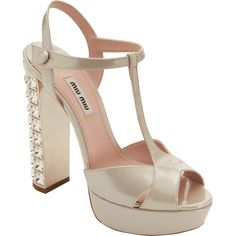 30001823a85 Miu miu Tstrap Jeweled Heel Sandal in Metallic