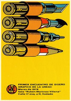 """""""First Conference on the Graphic Design of UNEAC"""", the Union of Writers and Artists of Cuba, 1979 Retro Design, Design Art, Cover Design, Graphic Design Typography, Typo Design, Identity Design, Graphic Art, Political Posters, Poster S"""