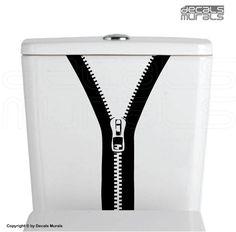 Wall decals ZIPPER Bathroom vinyl decor stickersToilet water tank decal by…