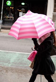 I like this umbrella because it's pink, striped, and a pagoda. Plus, it's well made; see how those stripes line up?!