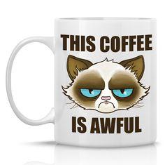 Cactus the Cranky Cat mug - This coffee is awful - 11oz ceramic mug - Meme mug similar to Tard the Grumpy Cat(TM) via Etsy