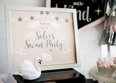 Swan party printable from Sweet Swan Themed Birthday Party at Kara's Party Ideas. See the details at karaspartyideas.com!
