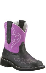 Ariat Fatbaby Heritage Harmony Women's Roughed Black with Fuchsia Top Fatbaby Western Boot | Cavender's