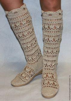 """Купить Льняные вязаные сапожки """"Дивные"""" - обувь ручной работы, летняя обувь, женская обувь"""