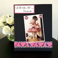 """If The Shoe Fits...Cinderella girl jeweled pink shoes gift handmade magnetic picture frame holds 5"""" x 7"""" photo 9"""" x 11"""" size. My frames are magnetic backed, covered with beautiful paper, and come with 3 embellished magnets. All frames are 9 x 11 and have a velvet easel back for free standing display or can be hung by a beautiful attached ribbon. Each frame is great for 1 to 3 pictures, notes, or recipes. You can put your pictures, notes or recipes where ever you want and then change them..."""