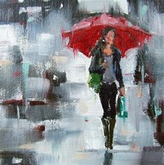 """Daily Paintworks - """"Red Umbrella Rain IV"""" by Gina Brown"""