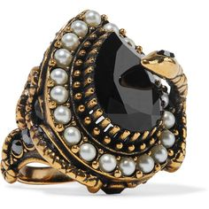 Alexander McQueen Gold-plated, faux pearl and Swarovski crystal ring (30.175 RUB) ❤ liked on Polyvore featuring jewelry, rings, swarovski crystal jewellery, gold plated rings, faux pearl jewelry, alexander mcqueen jewelry and swarovski crystal rings