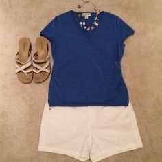 """Ann Taylor LOFT - blue V-neck cross front top Great short sleeve top for spring and summer! Measures 17.5"""" across from armpit to armpit, and 22"""" long. Price is firm unless bundled. Ann Taylor Tops"""