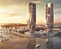 Zaha Hadid, Australia, Gold Coast, Mariner's Cove, tapered buildings, Sunland Group, Hadid skyscrapers, mixed use,