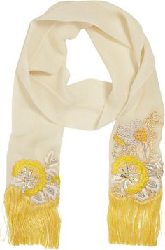DRIES VAN NOTEN Yellow Embellished Chiffon Opera Scarf - Lyst