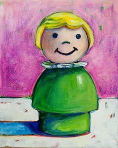 Fisher Price Little People Girl-Original by MeredithsPaintings