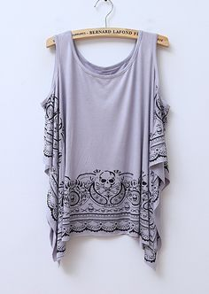 Skull Printed Sleeveless Irregular Cotton T-shirt Grey