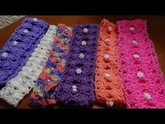 Còmo hacer una diadema o banda para el pelo, puntada a crochet. Muestra ...