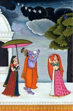 Raga Megha, Hindu Watercolor on PaperArtist Kailash Raj Pichwai Paintings, Mughal Paintings, Indian Art Paintings, Krishna Painting, Krishna Art, Krishna Lila, Shree Krishna, Krishna Images, Radhe Krishna