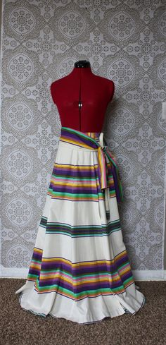 Vintage 1970s 80s Mexican Style Floor Length Skirt by pursuingandie, $48.00