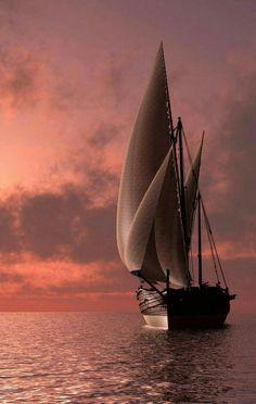 Wallpaper of Boat and yacht sailing at ocean sea Sailboat Art, Sailboat Painting, Sailboats, Old Sailing Ships, Sailing Boat, Raindrops And Roses, Sail Away, Nature Pictures, Beautiful Landscapes