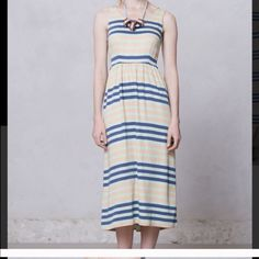 """ANTHROPOLOGIE Striped Dress Re-posh. I never wore it and previous posher kept it in excellent condition. Back zipper. Not lined but opaque. Length 46.5"""". Bust 32"""". Waist 28"""". Blue (navy) mint peach. Make an offer Anthropologie Dresses"""