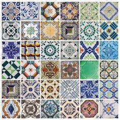 Portuguese Tiles Stickers Aljustrel - Pack of 36 tiles - Tile Decals Art for Walls Kitchen backsplash Bathroom - J BOUTIQUE STENCILS_RoyalWallSkins