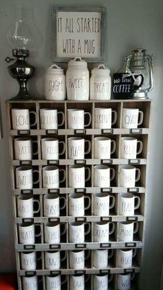 Rae Dunn mug bundle 630574385315944998 coffee station Do It Yourself Organization, Pantry Organization, Ray Dunn, Coffee Mug Display, Kitchen Ornaments, Do It Yourself Furniture, Home Coffee Stations, Café Bar, Ideas Para Organizar