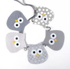 Owl Banner - Owl Decor - Owl Fabric Banner - Owl Nursery - Owl - Baby Shower Gift - Baby Shower Decoration - Toddler Room - Gray - Grey on Etsy, $20.00