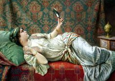 Francesco Ballesio (1860-1923 Italian) - Harem Odalisque. Odalisque was sexual slave in The Ottoman palace. Especially the young girls was raised for sex and entertainment.