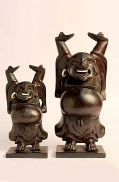 Wooden Laughing Buddha Statue (Pack of 2)
