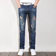 d7b8ae3168e8f 2016 New Fashion Designer Mens Jeans Straight Printed pants For Male Brand  Robin trouser ripped Jeans men.Size 28 40-in Jeans from Men s Clothing ...