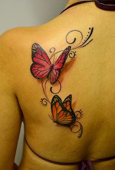 Check Out 35 Amazing Tattoo Designs. Tattoo art mastery has advanced to the point where tattoo artists can create convincing and sometimes even photo-realistic optical illusions on their clients' skin. Butterfly Tattoo Cover Up, Butterfly Tattoo On Shoulder, Butterfly Tattoos For Women, Butterfly Tattoo Designs, Realistic Butterfly Tattoo, Monarch Butterfly Tattoo, Simple Butterfly, Tattoo Shoulder, Neue Tattoos
