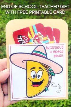 Taco'Bout a Great Teacher Gift idea! Free Printable Cards, Free Printables, Great Teacher Gifts, School Teacher, Teacher Appreciation, Diy And Crafts, Crafty, Group, Board
