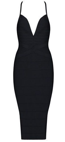body-con fit, length below knee, sexy deep v neckline, strap , back zipper Occasion: Club wear, Cocktail Parties, Wedding Material: 90% rayon /9% nylon/ 1% spandex Color - Black Size -X-Small, Small,