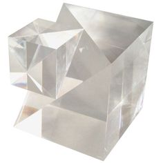 Lucite Square on a Cube Sculpture | 1stdibs.com