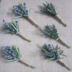 Groom Boutineer (rosemary and lavender), Groomsmen would be the same with another green herb and rosemary only. Tied in twine