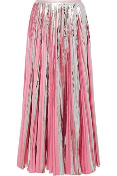 MARNI PLEATED METALLIC COATED-CREPE DE CHINE MIDI SKIRT. #marni #cloth