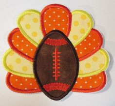 Iron On Applique   Football with Turkey by BigBlackDogDesigns