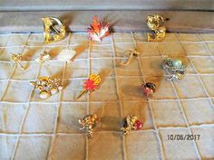Assorted Assortment lot of 13 Different Vintage Brooches Pins Lapel Pins - Avon Angels Fall Leaf Flowers & More by EvenTheKitchenSinkOH on Etsy