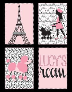 Eiffel Tower & Poodle Paris Print in Black and Pink, 11x14 printable. $12.00, via Etsy.
