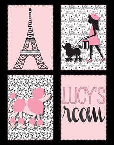 Eiffel Tower & Poodle Paris Print in Black and Pink, 11x14 printable. $12.00, via Etsy.