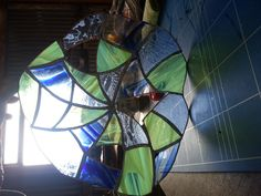 Cobweb glass panel held up to the light