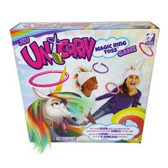 Magic Unicorn Ring Toss Game With the Unicorn Magic Ring Toss Game, players take turns trying to get their rings around their opponent's unicorn horn. The rules are simple, yet the gameplay is fun and has many different variations. Ages 6 and up. Unicorn Themed Birthday Party, Slumber Parties, Unicorn Birthday Parties, 8th Birthday, Birthday Ideas, Girls Birthday Party Games, Minion Birthday, Sleepover Party, Princess Birthday