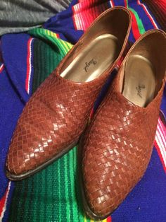 Leather woven vintage mules basket weaving leather by LaurEcon