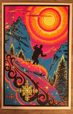 """Vintage  1960s """"Sunrise Skier"""" Black Light Poster Mid Century Print"""