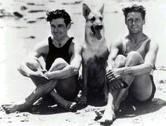 Silent film stars Charles Farrell and Johnny Mack Brown and dog, 1920s