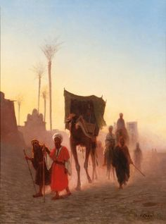 Caravan at Dusk by CHARLES THEODORE FRERE, 1890 France : The British Antique Dealers' Association