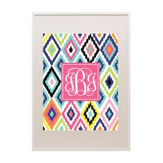 Free colorful ikat pattern printable monogram #monogram
