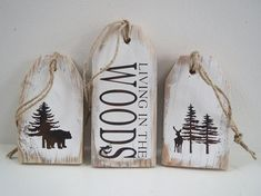 Your place to buy and sell all things handmade Wood Tags/Cabin Signs/Living In Woods Sign/Pallet Tags/Painted Wood Signs/Rustic Wood Signs Diy Wood Signs, Painted Wood Signs, Rustic Wood Signs, Pallet Signs, Rustic Decor, Christmas Wood, Christmas Signs, Christmas Crafts, Christmas Trees