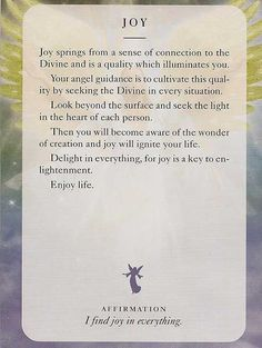 30-11-2015 monday - Today's Angel Card – I find joy in everything -  Diana Cooper                                                                                                                                                                                 More
